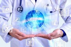 Champs de communication de représentation de médecine et de globalizatio Photo libre de droits