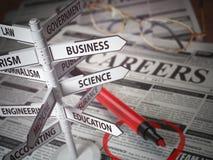Champs de direction de carrières, concept de recherche de Jjob, journal avec le jo Images libres de droits