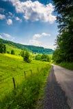 Champs de ferme le long d'un chemin de terre dans les montagnes rurales de Potomac de Photo libre de droits