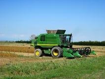 Champs de grain de maïs de culture de récolte mécanisée Photo libre de droits