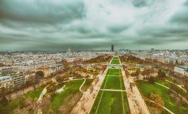 Champs de Mars and city skyline - Aerial view of Paris.  Stock Photo