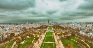 Champs de Mars and city skyline - Aerial view of Paris.  Stock Photos