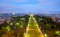 Champs de Mars from the Eiffel tower at night Royalty Free Stock Image