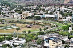 Champs de Mars horse race track viewed from far in Port-Louis Mauritius. Horse racing track in the heart of business and administrative centre of Port-Louis Stock Photos
