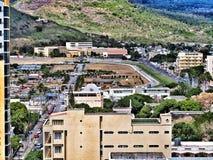 Champs de Mars -Pferderennenbahn weit herein angesehen vom Port-Louis Mauritius Stockfotografie