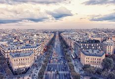 Sunset in Paris. Champs-Elysee avenue in Paris Royalty Free Stock Photo