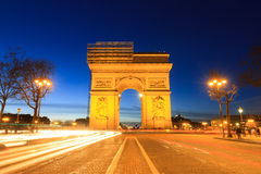 Champs elysees and arc de triomphe. Beautiful night view of the Arc de Triomphe in Paris, France Stock Photography