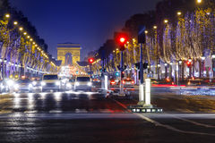 Champs Elysees and Arc de Triomphe Stock Image