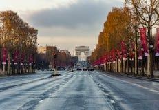 Champs-Elysees Arc de Triomphe Paris Royaltyfri Fotografi