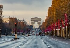 Champs-Elysees Arc de Triomphe Paris Arkivbilder