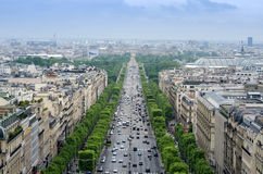 Champs Elysees from the Arc de Triomphe in Paris Stock Photo