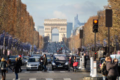 Champs Elysees with the Arc de Triomphe, Paris, France.  Stock Image