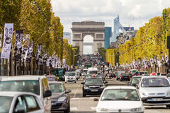 Champs Elysees and Arc de Triomphe. PARIS, FRANCE - OCTOBER 2: Champs Elysees and Arc de Triomphe  on October 2, 2012 in Paris, France Royalty Free Stock Photography