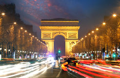 Champs elysees and Arc de Triumph, Paris Stock Image