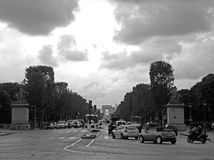 The Champs-Elysees and Arch de Triumph Royalty Free Stock Photos