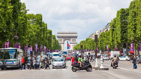 The Champs-Elysees. The Avenue des Champs-Elysees, the most famous avenue in the world, stretches for two kilometres from the Place de la Concorde to the Place stock photo