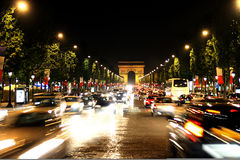 Champs-Elysees Avenue. Elysian fields. Champs-Elysees Avenue with Arc de Triomphe in Paris Royalty Free Stock Photography