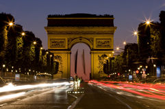 Champs-Elysees avenue at night stock image