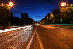 Champs-Elysees avenue at night, Paris, France Royalty Free Stock Photos