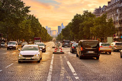 Champs Elysees avenue in Paris France Stock Photography