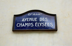 Champs Elysees avenue street sign in Paris. Of France royalty free stock image