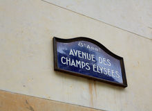 Champs Elysees avenue street sign in Paris. Of France royalty free stock photo