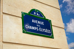 Champs Elysees avenue street sign in Paris. Of France stock photos