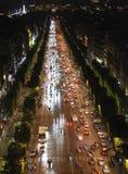 Champs Elysees bij nacht royalty-vrije stock foto