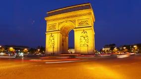 champs elysees bij nacht, Parijs, Frankrijk, timelapse, 4k stock footage