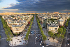 Champs-Elysees cityscape. View of the Champs-Elysees seen from the Arc de Triomphe in the afternoon in Paris, France Royalty Free Stock Photo