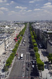Champs Elysees. An elevated view from the Arc de Triomphe of the Avenue des Champs Elysees, Paris, France royalty free stock image