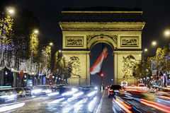Champs Elysees en Arch DE Triomphe Royalty-vrije Stock Fotografie