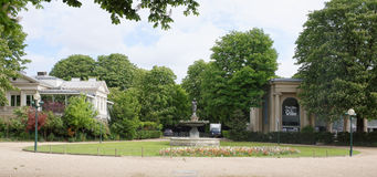 Champs Elysees. Fountain of Venus in the bath.Theater of the Cit. Paris,France- April 30, 2017: Champs Elysees. Fountain of Venus in the bath.Theater of the City royalty free stock photo