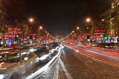 Champs Elysees light on for Christmas day Stock Photography