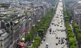 Champs-Elysees, the most famous street in Paris. PARIS, FRANCE - JULY 07 2018: Aerial view of Champs-Elysees, the most famous street in Paris on July 07,2018 in royalty free stock image