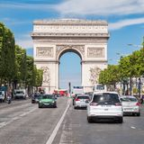 The Champs-Elysees next to the Arc de Triomphe in central Paris. PARIS,FRANCE - JULY 29,2017 : The Champs-Elysees next to the Arc de Triomphe in central Paris on Stock Photography
