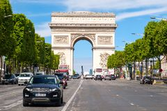 The Champs-Elysees next to the Arc de Triomphe in central Paris. PARIS,FRANCE - JULY 29,2017 : The Champs-Elysees next to the Arc de Triomphe in central Paris on Royalty Free Stock Photography
