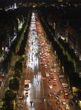 Champs Elysees at night. Famous boulveard Champs Elysees in Paris, France Royalty Free Stock Photo