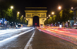 Champs Elysees at night Stock Image