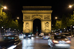 Champs-Elysees at night Royalty Free Stock Image