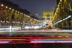 Champs-Elysees at night, Paris Stock Image