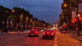 Champs Elysees Paris. Arc de Triomphe and Place de la Concorde are on this street.Photo taken on: May 8th, 2017 Royalty Free Stock Photos
