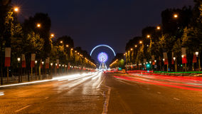 Champs Elysees Paris. Arc de Triomphe and Place de la Concorde are on this street.Photo taken on: May 8th, 2017 Royalty Free Stock Photo