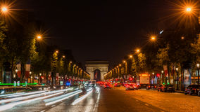 Champs Elysees Paris. Arc de Triomphe and Place de la Concorde are on this street.Photo taken on: May 8th, 2017 Royalty Free Stock Images