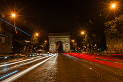 Champs Elysees Paris. Arc de Triomphe and Place de la Concorde are on this street.Photo taken on: May 8th, 2017 Stock Photos