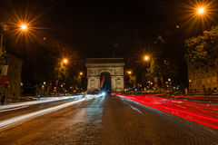 Champs Elysees Paris. Arc de Triomphe and Place de la Concorde are on this street.Photo taken on: May 8th, 2017 Stock Photo