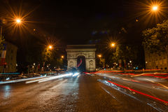 Champs Elysees Paris. Arc de Triomphe and Place de la Concorde are on this street.Photo taken on: May 8th, 2017 Royalty Free Stock Image