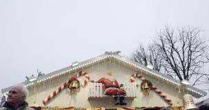 Champs-Elysees Paris Christmas Market tilt down to market stall stock footage