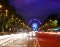 Champs Elysees in Paris and Concorde sunset. At France stock image