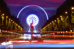 Champs Elysees in Paris and Concorde sunset. At France stock photos